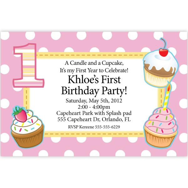 cupcake themed birthday party invitation wording ; 24016-1st-birthday-cupcake-pink-party-invitations1