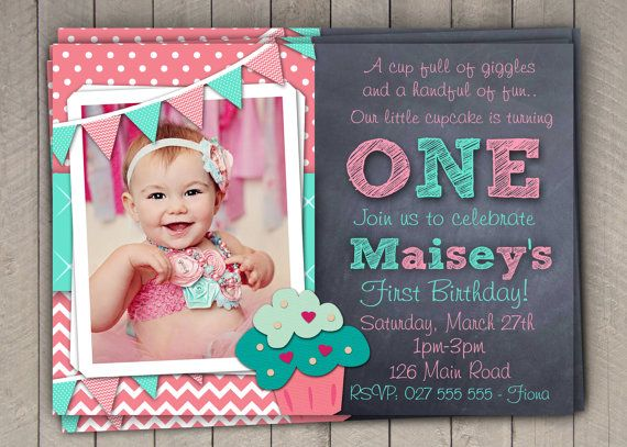 cupcake themed birthday party invitation wording ; Awesome-First-Birthday-Invitations-Girl-For-Additional-Free-Printable-Birthday-Party-Invitations