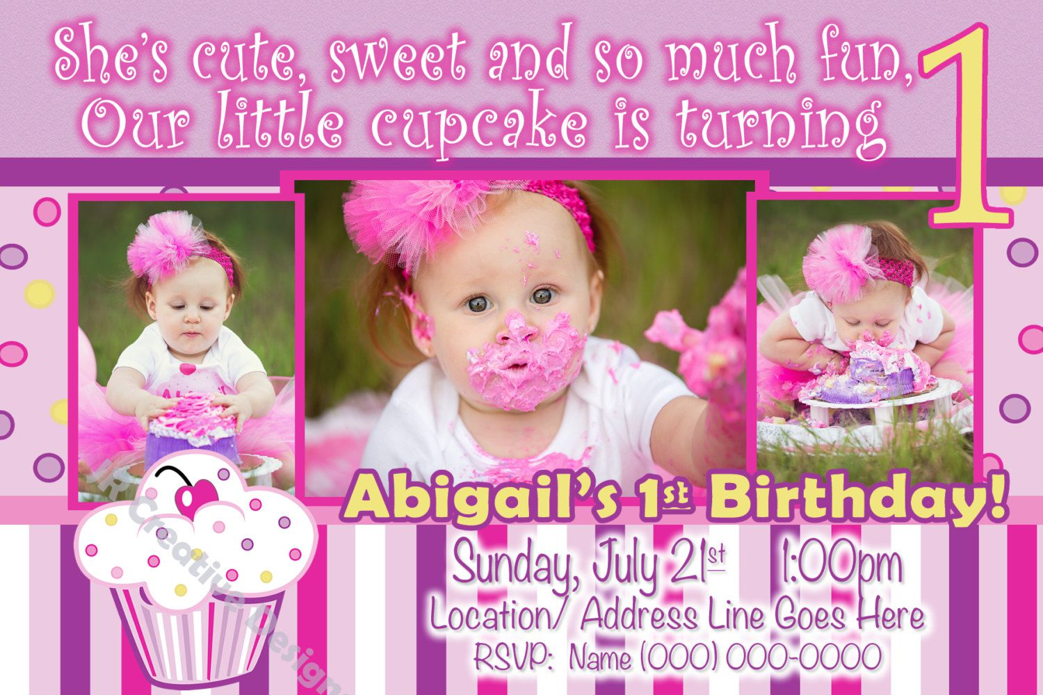 cupcake themed birthday party invitation wording ; cupcake-1st-birthday-invitation-wording