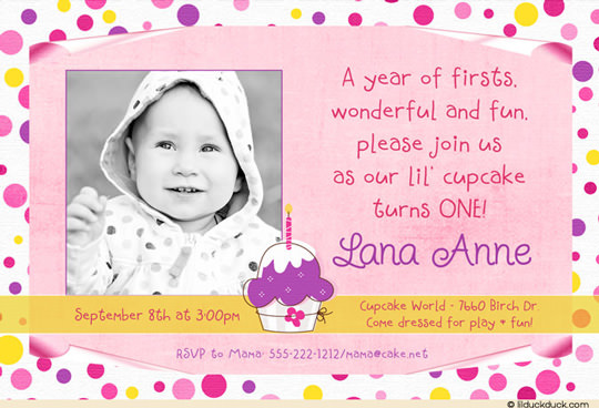 cupcake themed birthday party invitation wording ; cupcake-pink-purple-yellow-polka-dot-photo-invitation