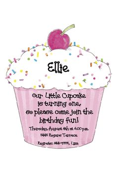 cupcake themed birthday party invitation wording ; df5b6414dbe3851b0931b4fa7c36832e--cupcake-first-birthday-girl-birthday