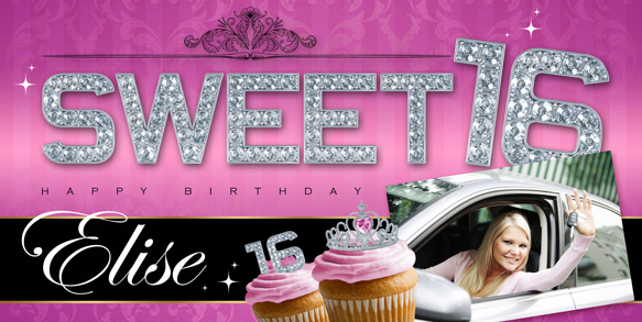 custom birthday banners with photo ; Pink-Diamonds-Sweet-16-Banner-LG-