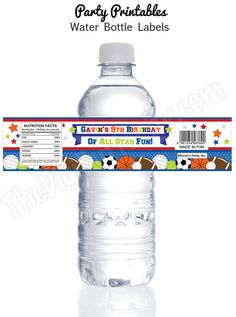 custom water bottle labels birthday ; 05a5873a9dfe66540a82d3b5ff8e98b8--personalized-water-bottle-labels-sports-party