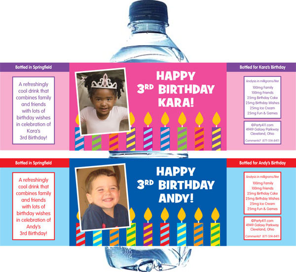 custom water bottle labels birthday ; label-candles01