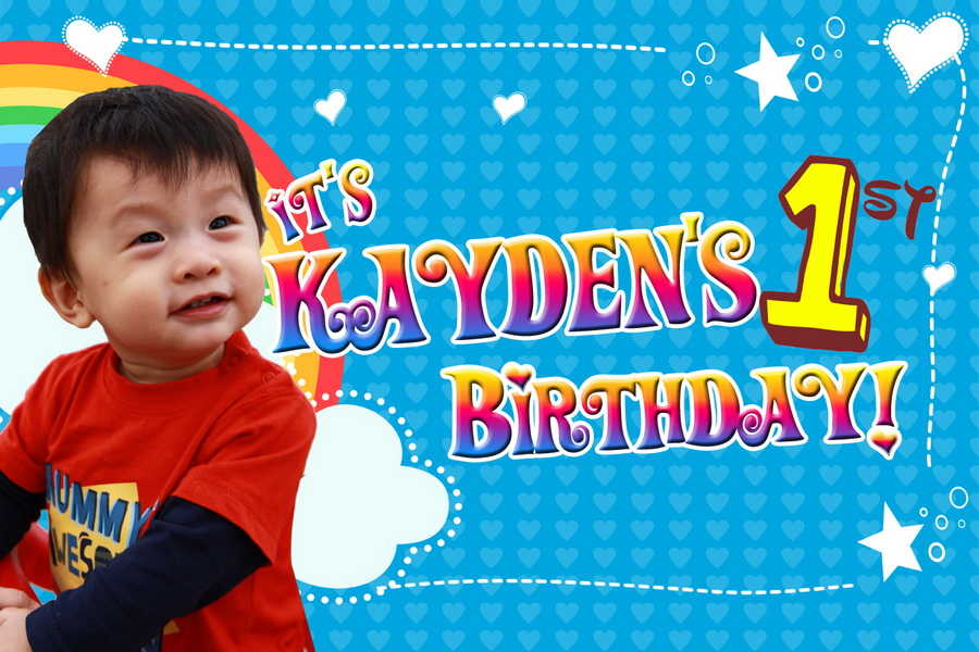 customized birthday banner with picture ; 15M-X-1M-KAYDEN-Birthday-Banner-Singapore