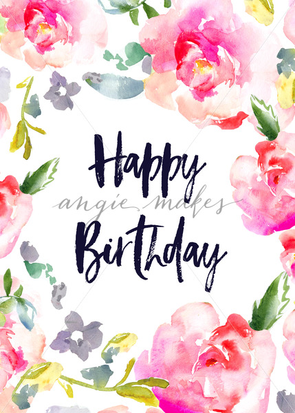 cute birthday card pictures ; Happy-Birthday-Card-With-Watercolor-Flowers
