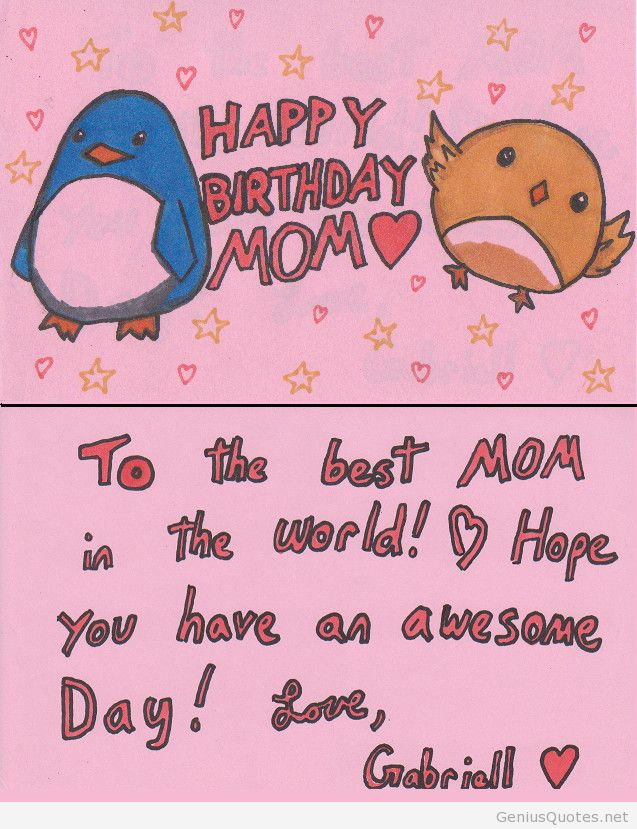 cute birthday card quotes ; quotes-for-birthday-cards-modern-design-pink-background-cute-penguin-and-chicken-picture-red-birthday-greeting-and-wish-a-mother-card-idea-from-children