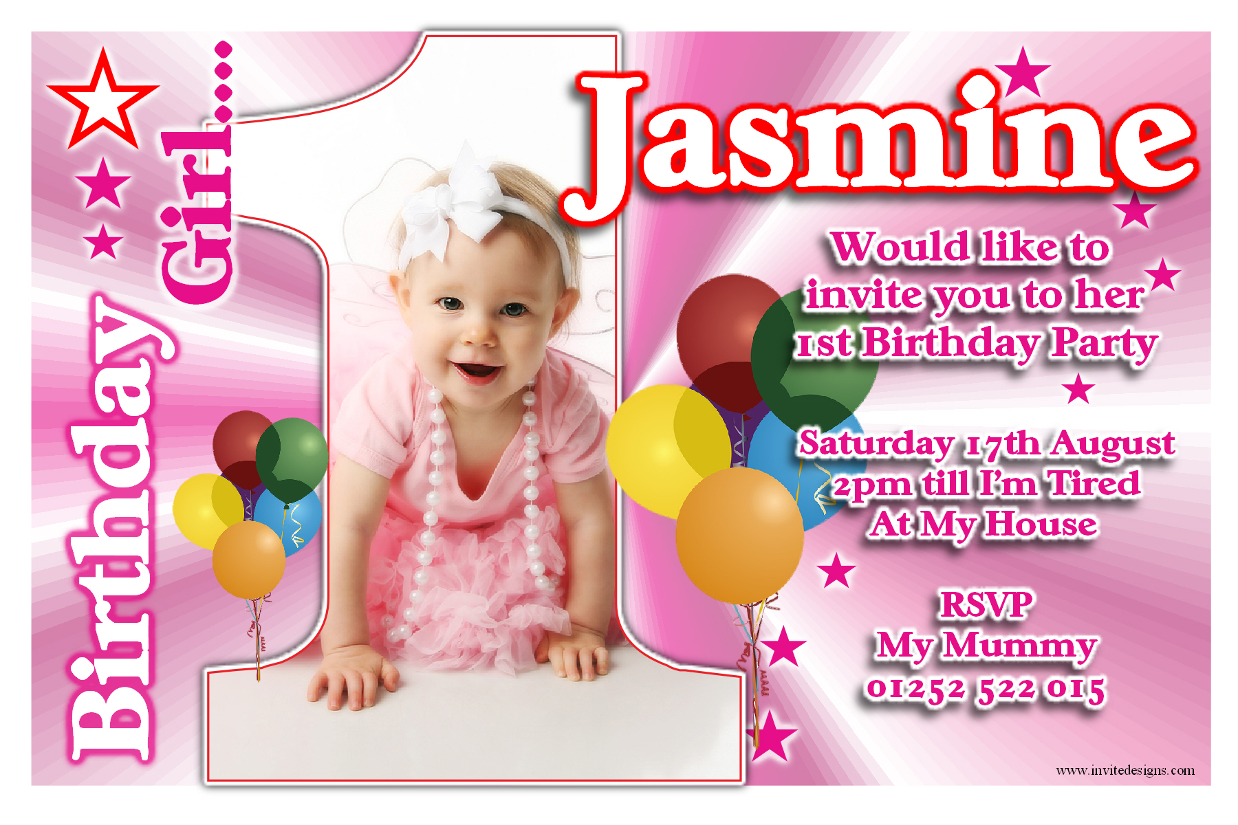 design 1st birthday invitation card ; invitations-1st-birthday-girl-for-your-inspiration-to-create-invitations-design-look-more-enchanting-12