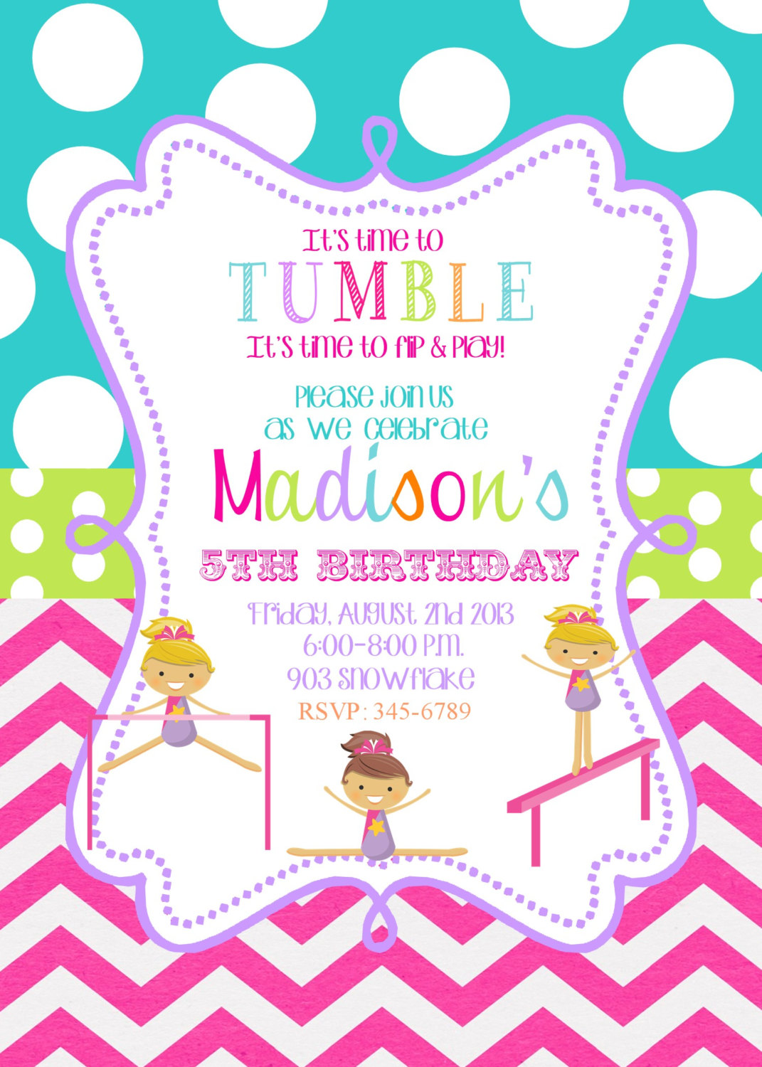design an invitation card for your birthday party ; Gymnastic-Birthday-Invitations-to-bring-your-dream-design-into-your-Birthday-invitation-7