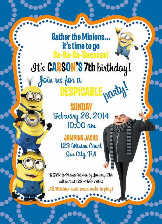 design an invitation card for your birthday party ; invitation-card-minions-design-exquisite-minion-birthday-invitation-card-free-with-hd