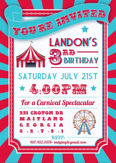 design an invitation card for your birthday party ; party-invites-awesome-circus-and-carnival-kids-birthday-party-invitation-card-design-example