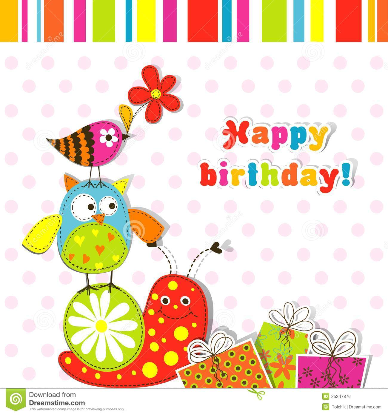 design birthday card with photo free ; greeting-card-free-square-square-pink-red-polka-dot-pattern-snail-owl-bird-and-gift-picture-template-greeting-card-royalty-free-stock-image