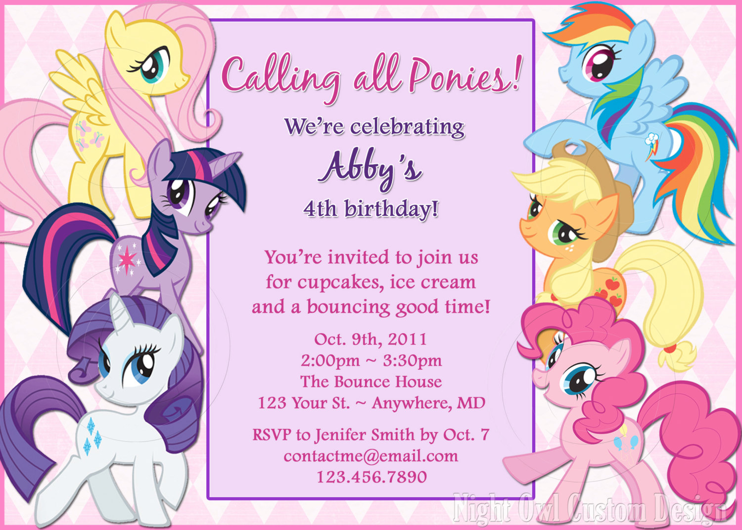 design your own birthday invitation cards free ; All-Gang-My-Little-Pony-Birthday-Invitations