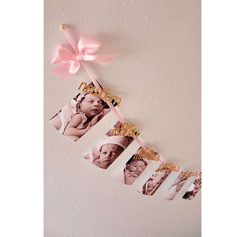 diy photo banner first birthday ; 1st-birthday-decorations-DIY-Monthly-Paper-1st-One-Year-Photo-Booth-Birthday-Banner-String-Flag-Photos