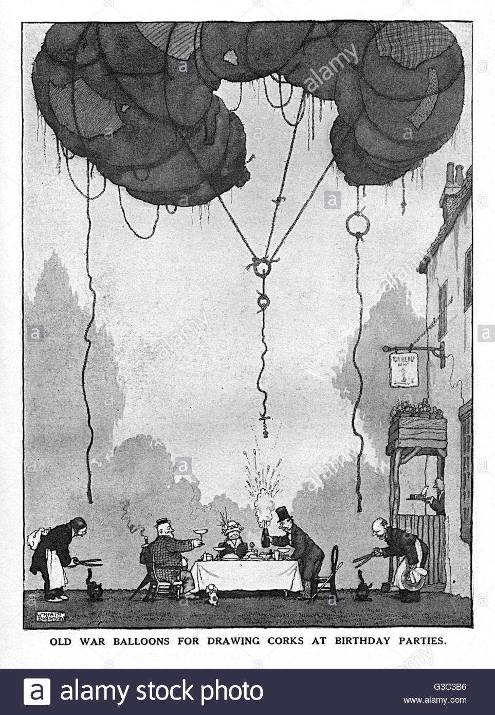 drawing birthday party ideas ; old-war-balloons-for-drawing-corks-at-birthday-parties-one-of-a-series-G3C3B6
