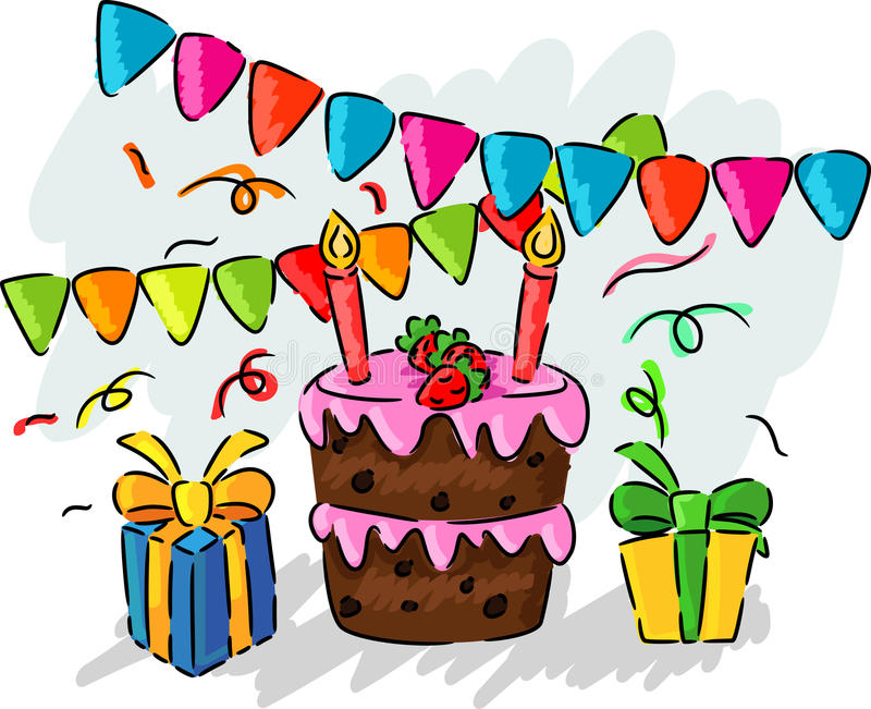 drawing pictures of birthday party ; birthday-party-hand-drawing-kids-vector-illustration-60001395