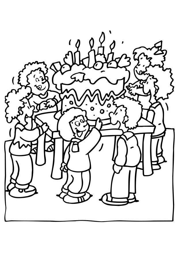drawing pictures of birthday party ; coloring-page-birthday-party-dl6561