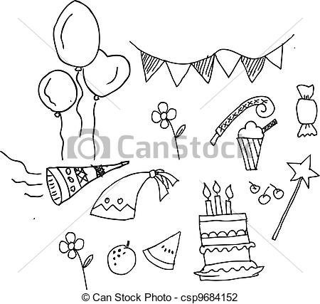 drawing pictures of birthday party ; cute-birthday-party-set-isolated-illustration_csp9684152