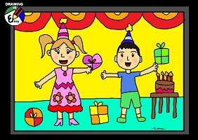drawing pictures of birthday party ; drawing_birthdayparty_sm