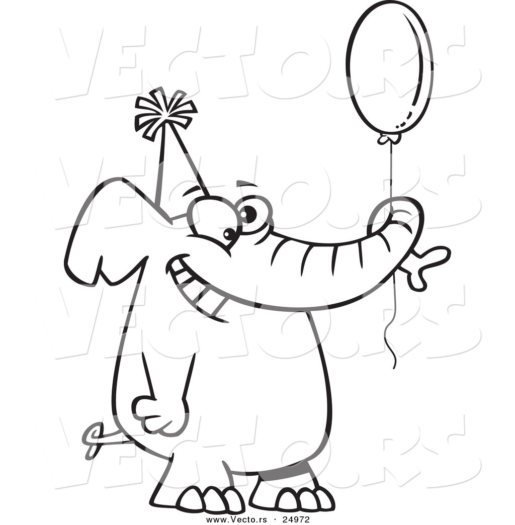 easy birthday drawings ; birthday-cartoon-drawings-vector-of-a-cartoon-happy-birthday-elephant-holding-a-balloon