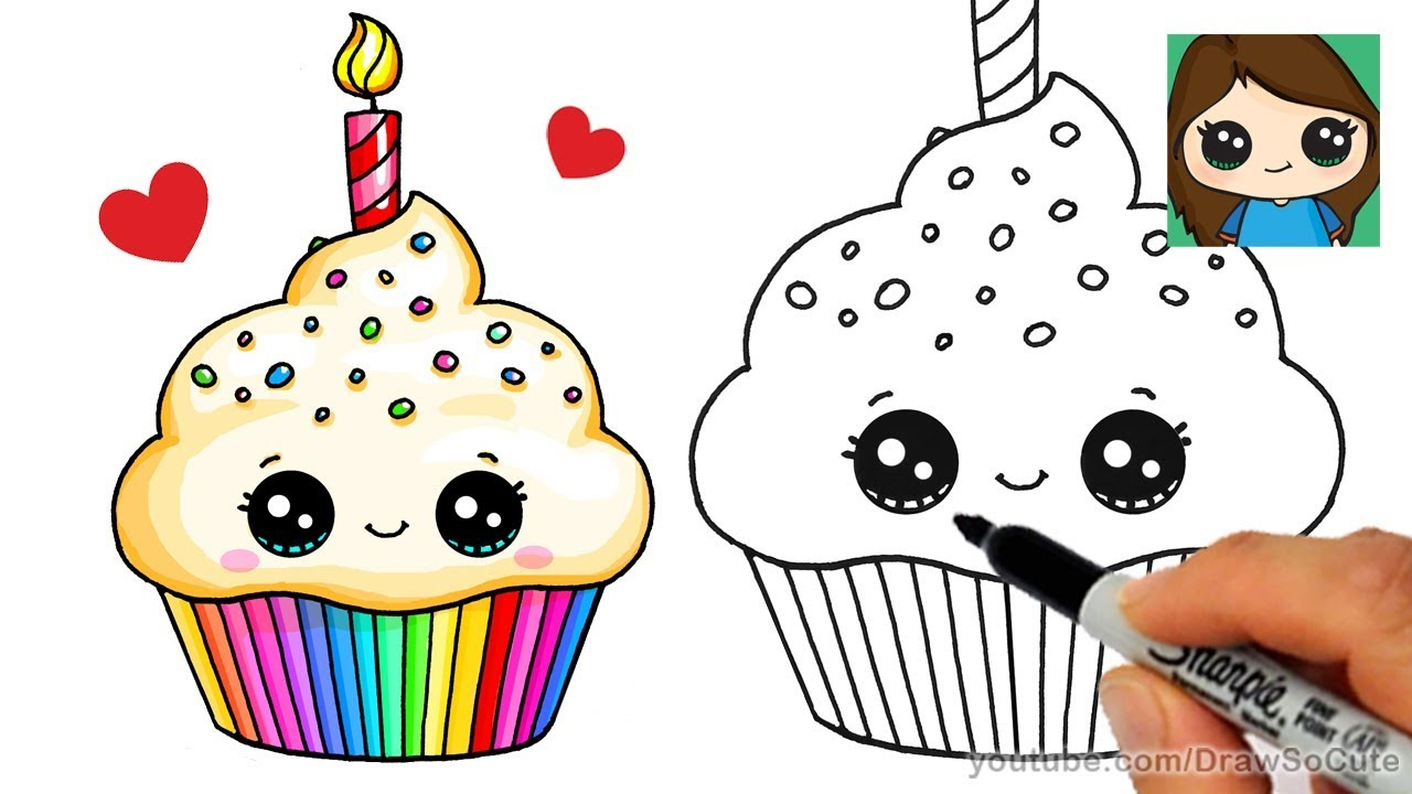 easy birthday drawings ; cute-birthday-drawings-how-to-draw-a-birthday-cupcake-easy-youtube