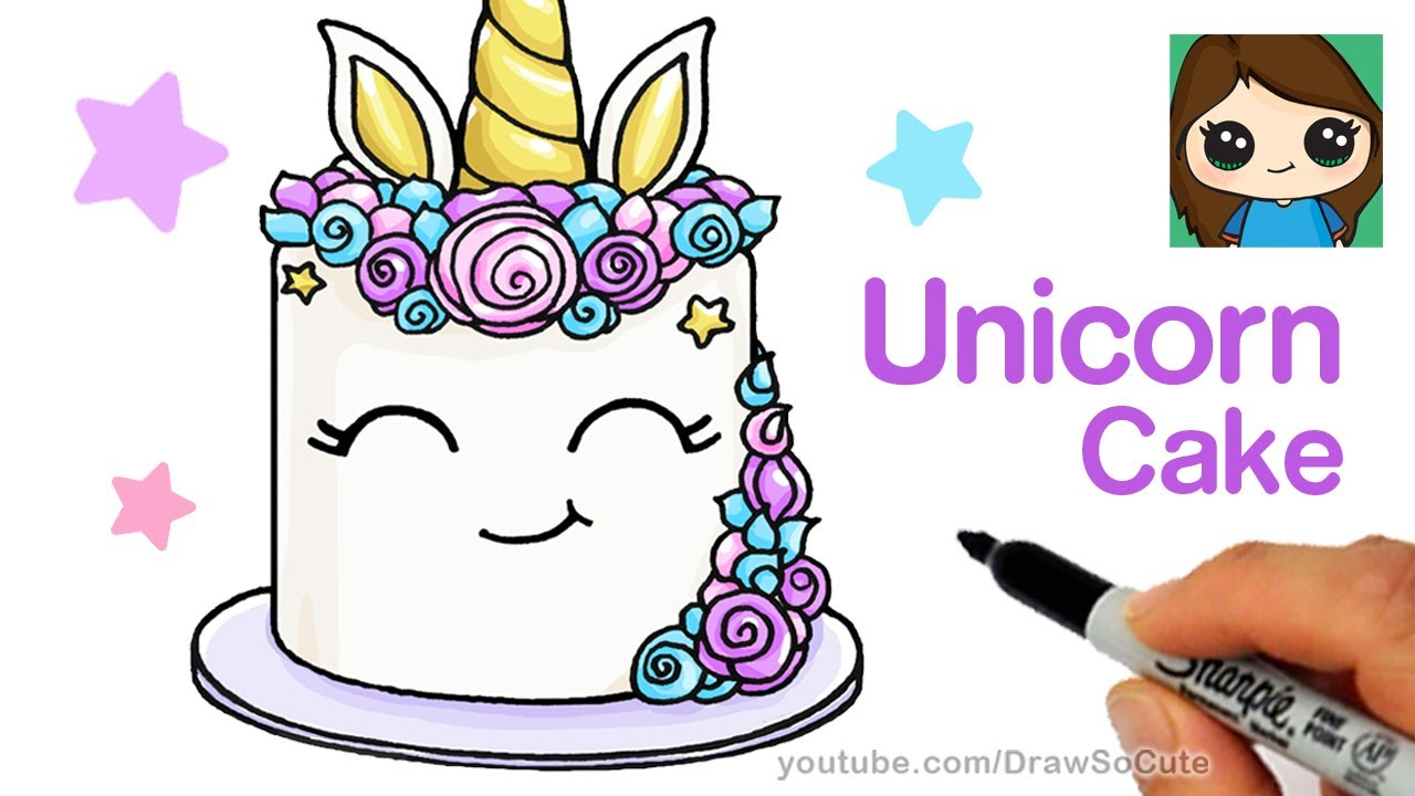 easy birthday drawings ; cute-birthday-drawings-how-to-draw-a-unicorn-cake-easy-youtube