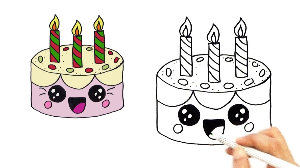 easy birthday drawings ; how-to-draw-a-cute-birthday-cake-very-easy-hde-youtube