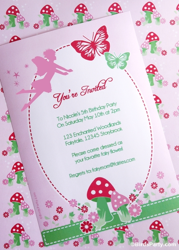 fairy themed birthday invitation ; pixie-fairy-fairytale-garden-butterfly-pink-woodland-toadstools-birthday-party-printables-ideas-invites-invitation