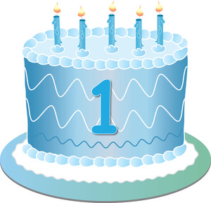 first birthday clipart ; clip_art_illustration_of_a_blue_birthday_cake_with_the_number_1_and_5_candles_on_it_0515-1101-0714-1317_SMU