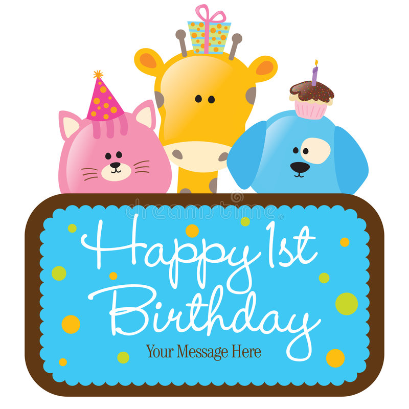 first birthday clipart ; isolated-baby-animals-first-birthday-sign-bl-9083038