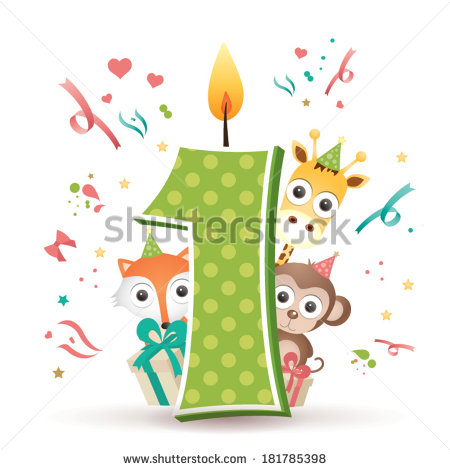 first birthday clipart ; stock-vector-happy-first-birthday-candle-and-animals-isolated-on-white-181785398