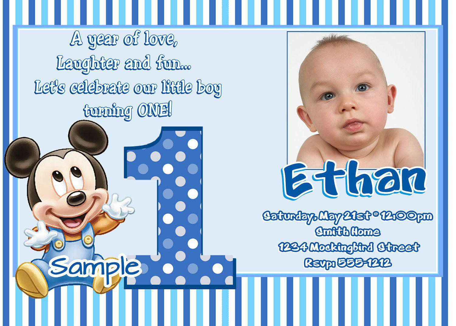 first birthday invitation card design ; Mickey-Mouse-First-Birthday-Invites-Wording