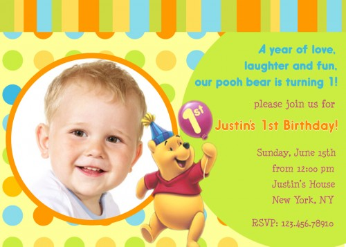 first birthday invitation card design ; Winnie-The-Pooh-First-Birthday-Invitation-Templates