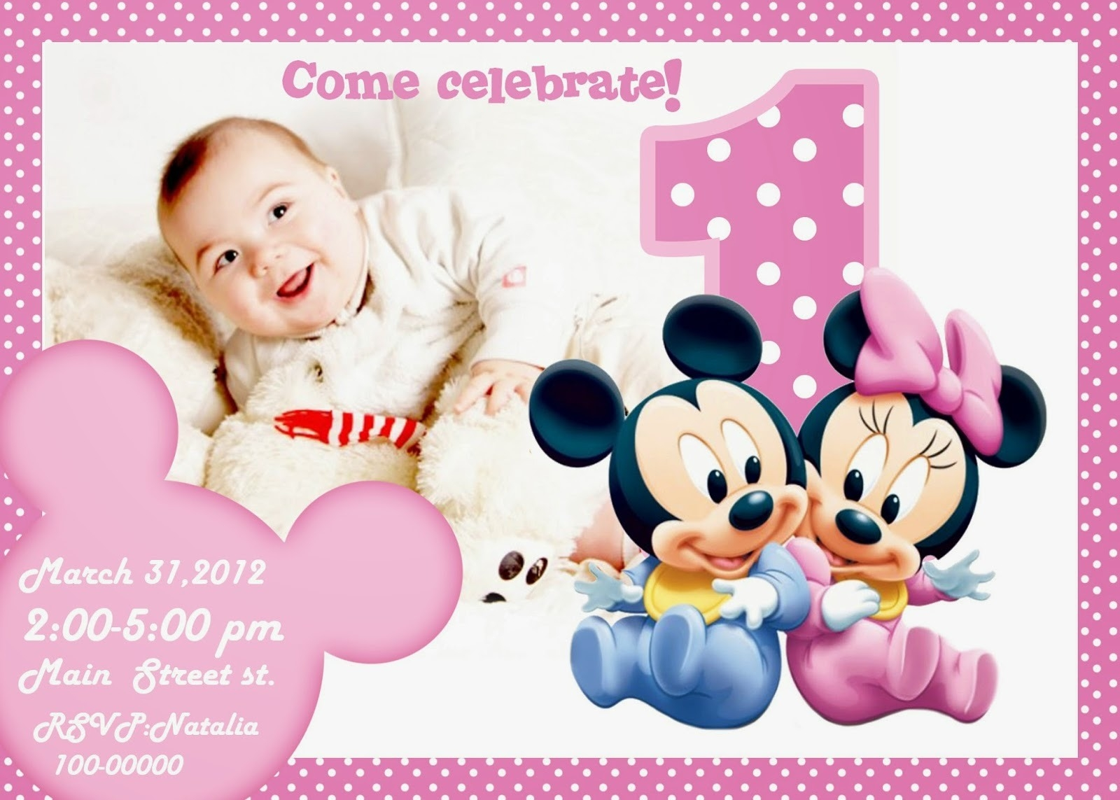 first birthday invitation card design ; design-sophisticated-minnie-mouse-1st-birthday-invitations-blank-with-first-birthday-invitation-card-design-blank