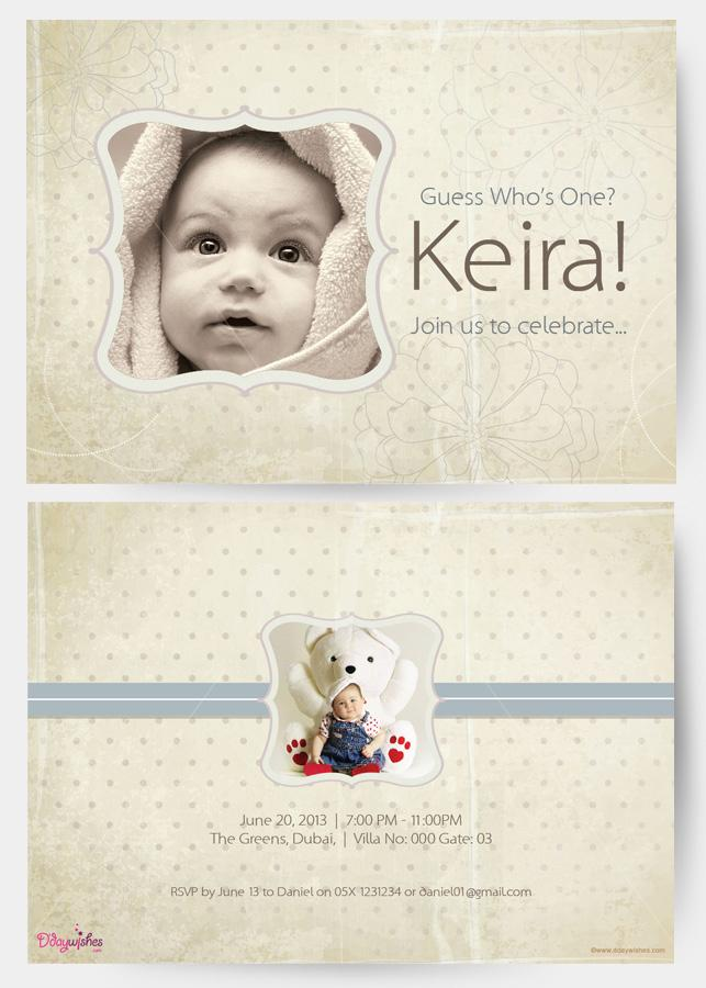 first birthday invitation card design ; grey-dots-first-birthday