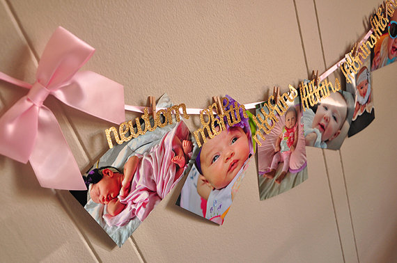 first birthday monthly photo banner ; 1st-Birthday-Monthly-banner-high-chair-banner-First-Birthday-Photo-Banner-Pink-and-Gold-Birthday