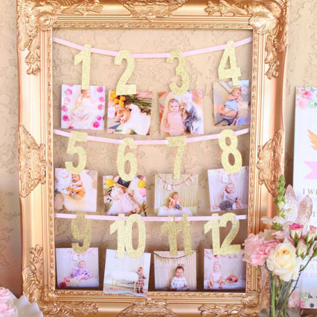 first birthday monthly photo banner ; Gole-Pink-Milestone-Photo-Banner-Boy-Girl-1-12-Month-Photo-Bunting-Garland-Baby-Shower-1st