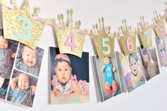 first birthday monthly photo banner ; Princess-First-Birthday-Monthly-banner-Milestone-Banner-crown-Photo-Prop-blue-Pink-and-Gold-Crown-photo
