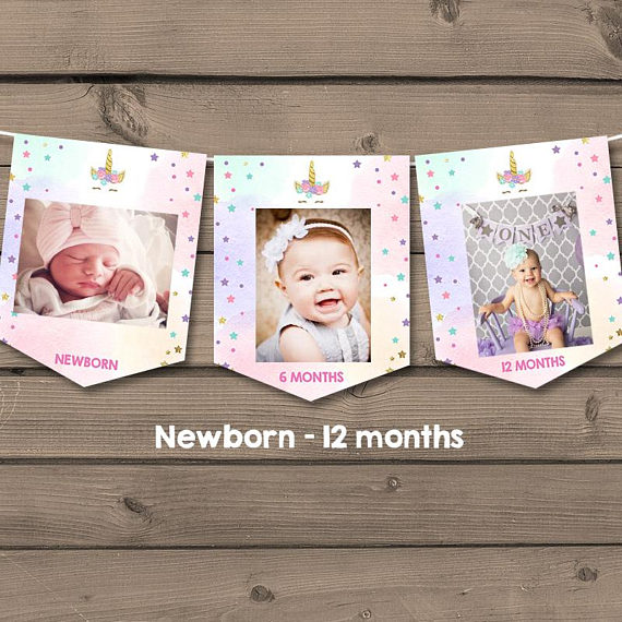 first birthday monthly photo banner ; a80fc995491fefacc569c0b253a8c609