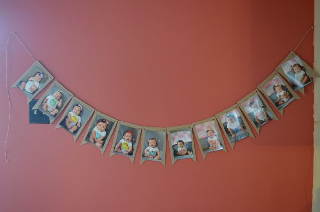 first birthday monthly photo banner ; one-year-of-baby-photos-banner