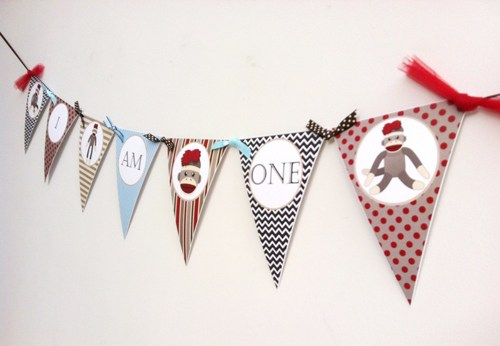 first birthday photo banner ; i_am_one_sock_monkey_banner_decoration_for_first_birthday_party_358404b3