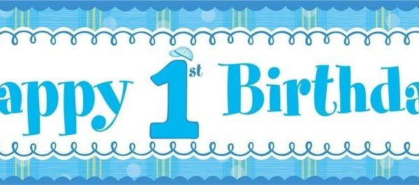 first birthday photo banner template ; 100-happy-birthday-banner-printable-template-cake-and-balloon-intended-for-first-birthday-banner-600x266