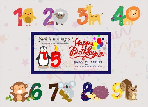 first birthday photo banner template ; birthday_banner_vector_with_cute_animals_and_numbers_6825044