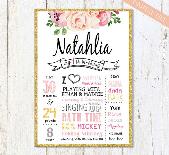 first birthday photo poster ; shab-chic-first-birthday-sign-pink-white-gold-1st-birthday-1st-birthday-poster