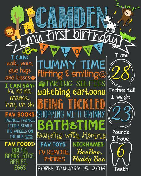 first birthday poster template ; first-birthday-chalkboard-poster-safari-first-birthday-chalkboard-1st-birthday-chalkboard-poster-template