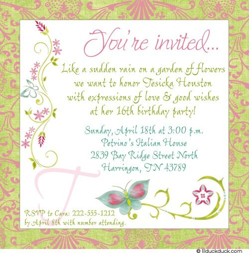 flower themed birthday party invitation wording ; Chic-Butterfly-sweet-16-birthday-invitation-pink-green-turquoise