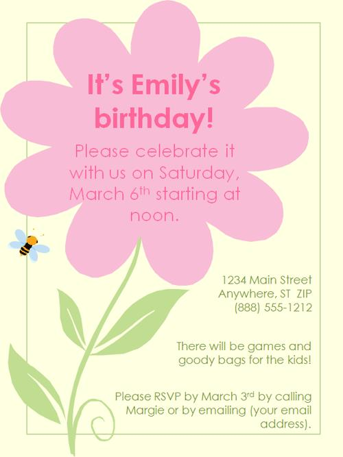 flower themed birthday party invitation wording ; excellent-birthday-party-invitations-known-inexpensive-article