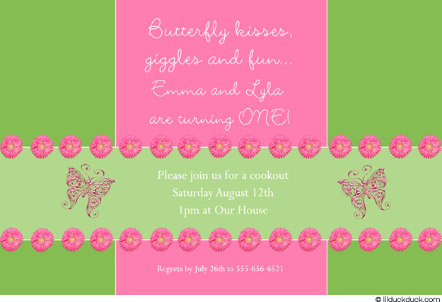 flower themed birthday party invitation wording ; flowers-butterflies-invitation-twin-girl-pink-green1