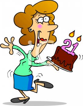 free animated birthday clipart images ; 0511-1004-0916-3155_Cartoon_of_a_Girl_on_Her_21st_Birthday_clipart_image