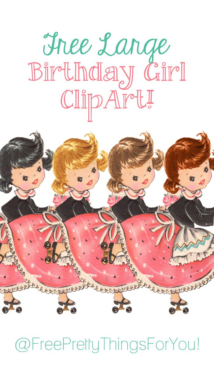 free birthday girl clipart ; Free_vintage_birthday_girl_image_by_FPTFY_1web